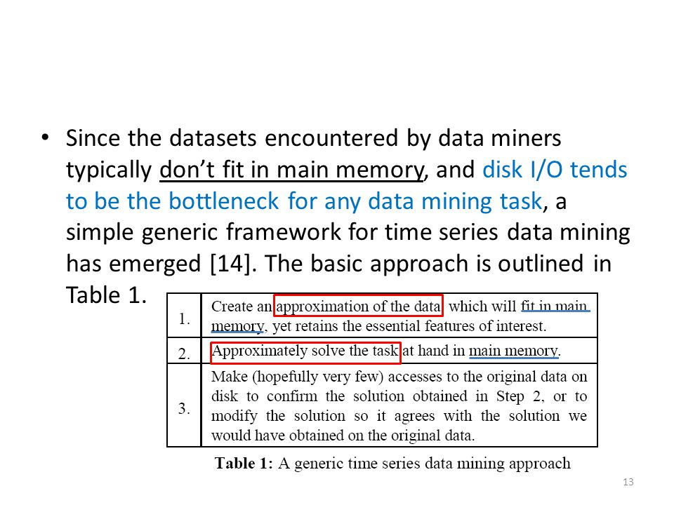 Since the datasets encountered by data miners typically don't fit in main memory, and disk I/O tends to be the bottleneck for any data mining task, a simple generic framework for time series data mining has emerged [14].